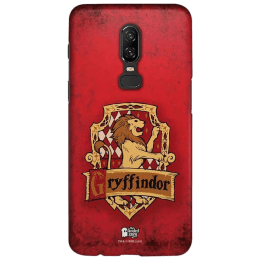 The Souled Store Harry Potter - Gryffindor Sigil Polycarbonate Mobile Back Case Cover for OnePlus 6 (121058, Caramel Brown)_1