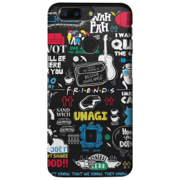 The Souled Store F.R.I.E.N.D.S - Doodle Polycarbonate Mobile Back Case Cover for OnePlus 5T (81575, Black)_1