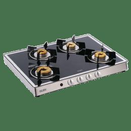 Glen 1048 GT 4 Burner Toughened Glass Gas Stove (Ergonomic Knobs, CT1048GTFBMAI, Black)_1