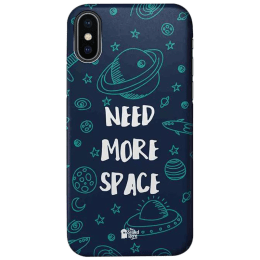 The Souled Store Need More Space Polycarbonate Mobile Back Case Cover for Apple iPhone X (75082, Blue)_1