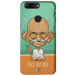 The Souled Store Gandhi - Peace Out Bro Polycarbonate Mobile Back Case Cover for OnePlus 5T (81599, Blue)_1
