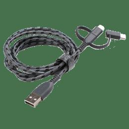 Boompods Trio 150 cm 3-in-1 USB 2.0 (Type-A) to USB (Type-C) + Lightning + Micro USB Cable (BP-TRIO-GRA, Graphite)_1