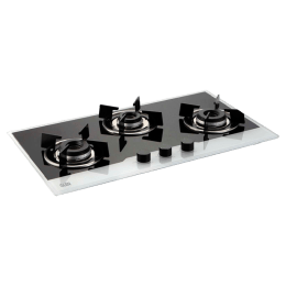 Glen Frame 1073 IN BW 3 Burner Toughened Glass Built-in Gas Hob (Auto Ignition, BH1073FINBW, Black/Silver)_1