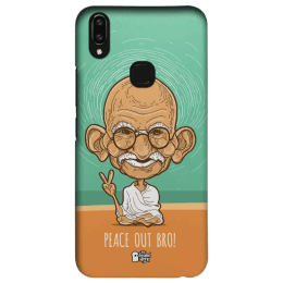 The Souled Store Gandhi - Peace Out Bro Polycarbonate Mobile Back Case Cover for Vivo V9 (130468, Green/Orange)_1