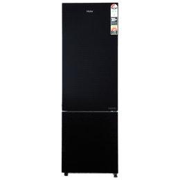 Haier 256 L 3 Star Frost Free Double Door Bottom Mount Refrigerator (HRB-2763CKG-E, Black Glass)_1