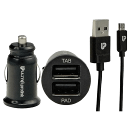 Ultraprolink 100 cm Dual USB (Type-A) to Micro USB Car Charger and Cable (UM0014, Black)_1