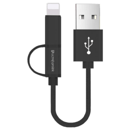 Ultraprolink Mini Combo USB (Type-A) to Micro USB + Lightning Cable (UL0061BLK-0020, Black)_1