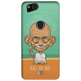 The Souled Store Gandhi - Peace Out Bro Polycarbonate Mobile Back Case Cover for Google Pixel 2 (79825, Sky Blue)_1