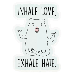 The Souled Store Inhale Love Plus Exhale Hate Sticker (White)_1