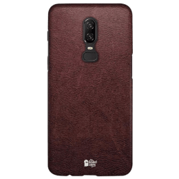 The Souled Store Vintage Leather Print Mobile Back Case Cover for OnePlus 6 (121196, Brown)_1