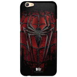 The Souled Store Spider - Man - Crest Polycarbonate Mobile Back Case Cover for Oppo F3 (67276, Black/Red)_1