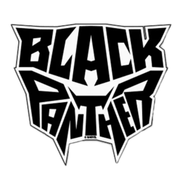 The Souled Store Black Panther Logo Typography Sticker (Black)_1
