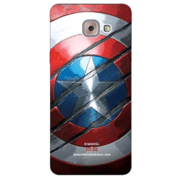 The Souled Store Captain America - Shield Polycarbonate Back Case Cover for Samsung Galaxy J7 Max (57014, Red/Silver)_1