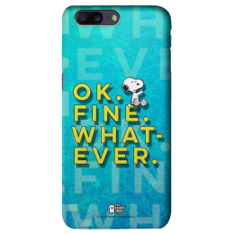 The Souled Store Peanuts - Ok. Fine. Whatever. Polycarbonate Mobile Back Case Cover for OnePlus 5 (62865, Blue)_1