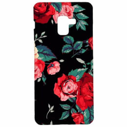 RedFinch Black Flower Print Hard Back Case Cover for Samsung Galaxy A8 Plus (HD_SM A8+_FLB_006, Multicolor)_1