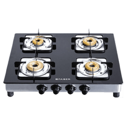 Faber 4 Burner Glass Built-in Gas Hob (Feather Touch Knobs, Supreme Plus 4BB AI, Black)_1