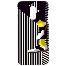 Cangaroo Textured with Shoes Polycarbonate Hard Back Case Cover for Samsung Galaxy A6 Plus/J8 (HD_SamA6P_Kri_019_BWFOOT, Black)_1