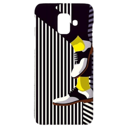 Cangaroo Textured with Shoes Polycarbonate Hard Back Case Cover for Samsung Galaxy A6 (HD_SamA6_Kri_019_BWFOOT, Black)_1