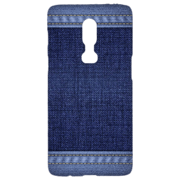 Cangaroo Denim Design Polycarbonate Hard Back Case Cover for OnePlus 6 (HD_1P6_Kri_010_DENM, Blue)_1
