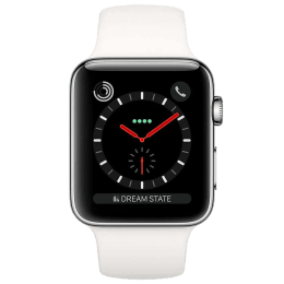 Apple Watch Series 3 Smartwatch (GPS+Cellular, 38mm) (Supports Apple Watch e-SIM, MQLV2HN/A, Black/White, Sport Band)_1