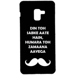 RedFinch Moustache Print Hard Back Case Cover for Samsung Galaxy A8 Plus (HD_SM A8+_MOU_004, Black)_1