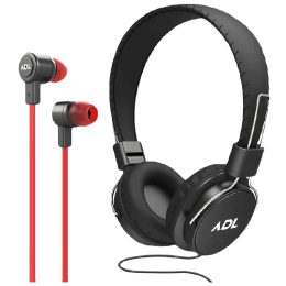 ADL Escape Wired Earphones and Headphones Combo with Mic (S900, Black)_1