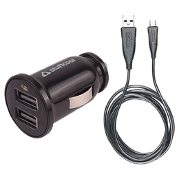 Stuffcool Dual USB 2.4 Amp Car Charging Adapter with Cable (BOULET24-BLK/BLK, Black)_1