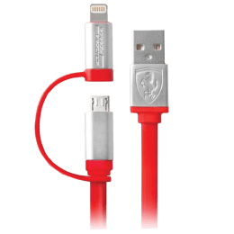 Ferrari F1151 120 cm USB (Type-A) to Lightning + Micro USB Cable (SW-839, Red)_1