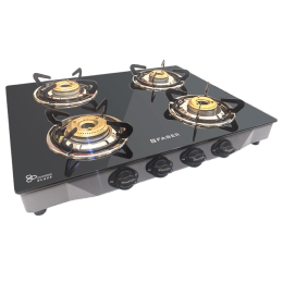 Faber 4 Burner Glass Built-in Hob (Double Round Drip Tray, Jumbo 4BB SS, Black)_1