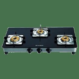 Faber 3 Burner Glass Gas Stove (Brass Burners, Supreme Plus 3BB AI, Black)_1