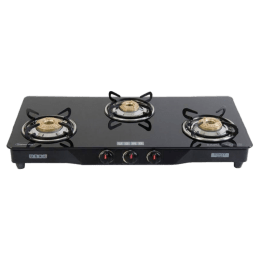 Usha 3 Burner Glass Gas Stove (Brass Burners, Ebony GS3 001, Black)_1