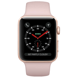 Apple Watch Series 3 Smartwatch (GPS+Cellular, 42mm) (Supports Apple Watch e-SIM, MQKP2HN/A, Gold/Pink Sand, Silicone Sport Band)_1