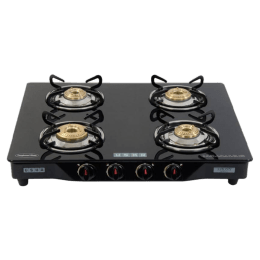 Usha 4 Burner Stainless Steel Gas Stove (Ebony GS4 001, Black)_1