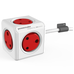 Allocacoc Powercube Power Adapter with Extension Cable (6704/INEXPC, Red/White)_1