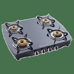 Bajaj 4 Burner Toughened Glass Gas Stove (Brass Burner, CGX10, Black)_1