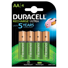Duracell Ultra AA 2500 mAh Rechargeable Batteries (DU Rec AA2500 4BL, Green) (Pack of 4)_1