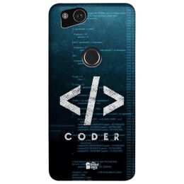 The Souled Store Coder Polycarbonate Back Case Cover for Google Pixel 2 (79772, Teal Green)_1