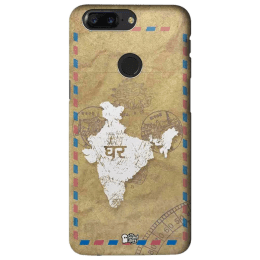The Souled Store India Map Polycarbonate Mobile Back Case Cover for OnePlus 5T (81642, Khaki Brown)_1