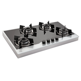 Glen Frame 1074 IN BW 4 Burner Toughened Glass Built-in Gas Hob (Auto Ignition, BH1074FINBW, Black/Silver)_1