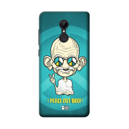 The Souled Store Gandhi - Peace Out Bro Polycarbonate Mobile Back Case Cover for Xiaomi Redmi Note 5 (84901, Blue)_1