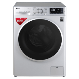 LG 8 kg Fully Automatic Front Loading Washing Machine (FHT1408SWSASSPEIL, Silver)_1