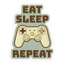 The Souled Store Eat Sleep Play Repeat Sticker (Brown)_1