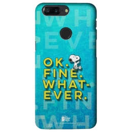 The Souled Store Peanuts - Ok. Fine. Whatever. Polycarbonate Mobile Back Case Cover for OnePlus 5T (81712, Blue)_1