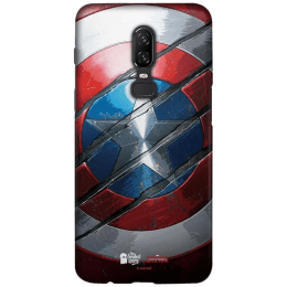 The Souled Store Captain America - Shield Polycarbonate Back Case Cover for OnePlus 6 (121015, Red/Silver)_1