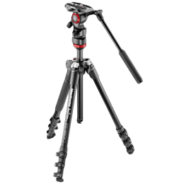 Manfrotto Befree Adjustable 151 cm Aluminum Tripod with Live Fluid Head for DSLR and Camcorders Camera (Up to 4 Kg, Flexible Shooting, MVKBFR-LIVE, Black)_1