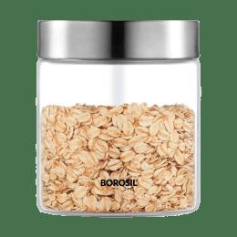 Borosil Endura 0.6 Litres Stainless Steel Lid Jar (BVVGJRSS600, Transparent)_1