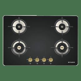 Faber Maxus 4 Burner Tempered Black Glass Built-in Gas Hob (HT784 CRS BR CI AI, Black)_1