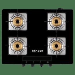 Faber Blaze 4 Burner Tempered Black Glass Gas Stove (HD 4B BK AI, Black)_1