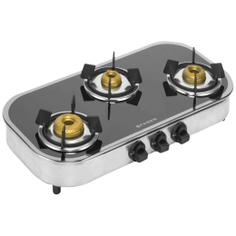 Faber Curvo 3 Burner Black Tempered Glass Gas Stove (Feather Touch Knobs, Mirror 3BB SS, Black)_1