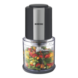 Borosil Chef Delite 300 Watts 0.6 Litres Chopper (Suitable for chopping of Spinach and other Leafy Vegetables, Dual Blades, BCH20DBB21, White)_1